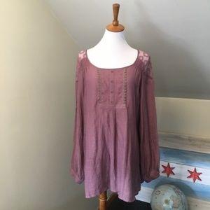 >> Adiva Peasant Long Sleeve Blouse Sheer Lace L